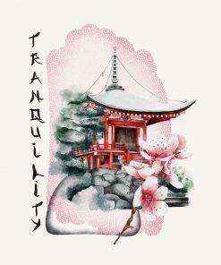 Plakat z pagodą i napisem: spokój