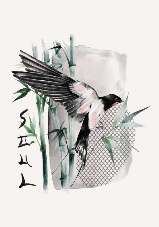 Plakat z ptaszkiem i bambusem i napisem dusza