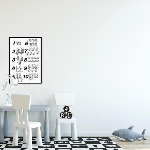 Plakaty czarno-biały do nauki matematyki