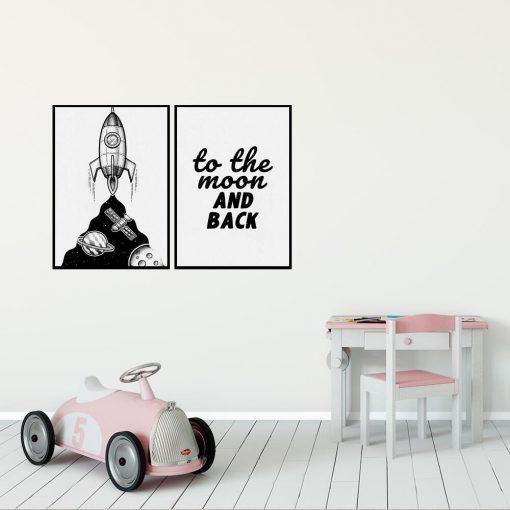 Plakaty dla dzieci z napisem: to the moon and back