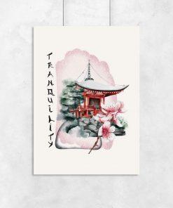 Plakaty z azjatycką świątynią i napisem: tranquility