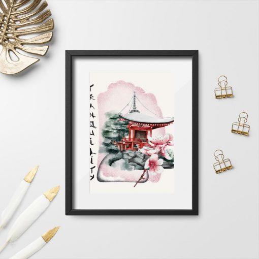 Plakaty z pagodą i napisem: tranquility
